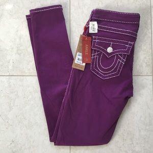 NWT$99 TRUE RELIGION Chrissy purple skinny jean 27